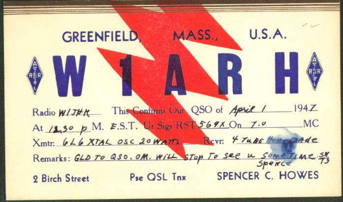 W1ARH Spencer Howes Greenfield MA Ham Radio QSL postcard 1947