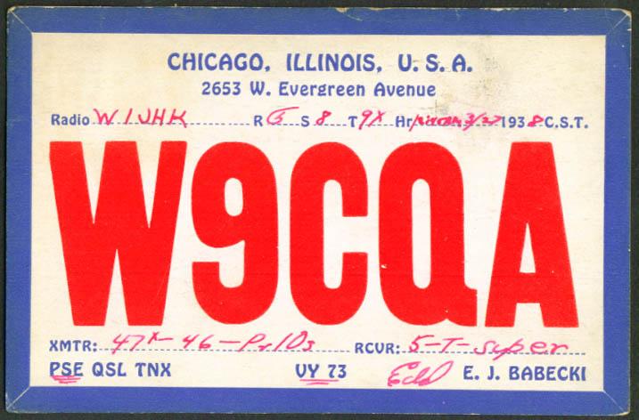 E J Babecki Chicago IL Ham Radio QSL postcard 1938