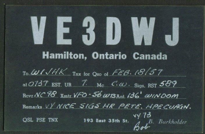 VE3DWJ B Burkholder Hamilton ON Ham Radio QSL postcard 1957