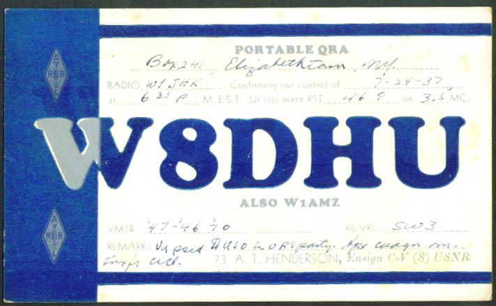 A T Henderson Elizabethtown NY Ham Radio QSL card 1937