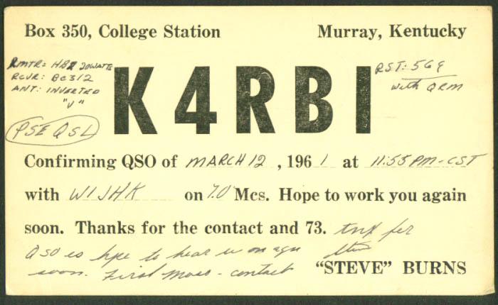 K4RBI Steve Burns Murray KY Ham Radio QSL postcard 1961
