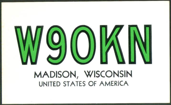 W9OKN Robert S Dixon Madison WI Ham Radio QSL postcard 1961