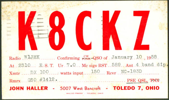 K8CKZ John Haller Toledo OH Ham Radio QSL postcard 1958