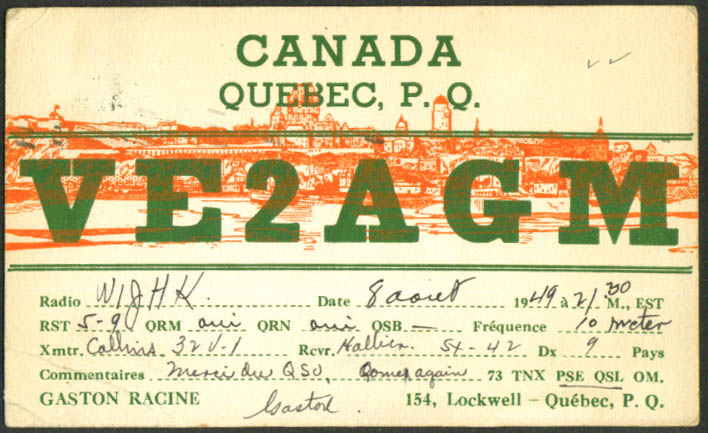 VE2AGM Gaston Racine Lockwell PQ Ham Radio QSL postcard 1949