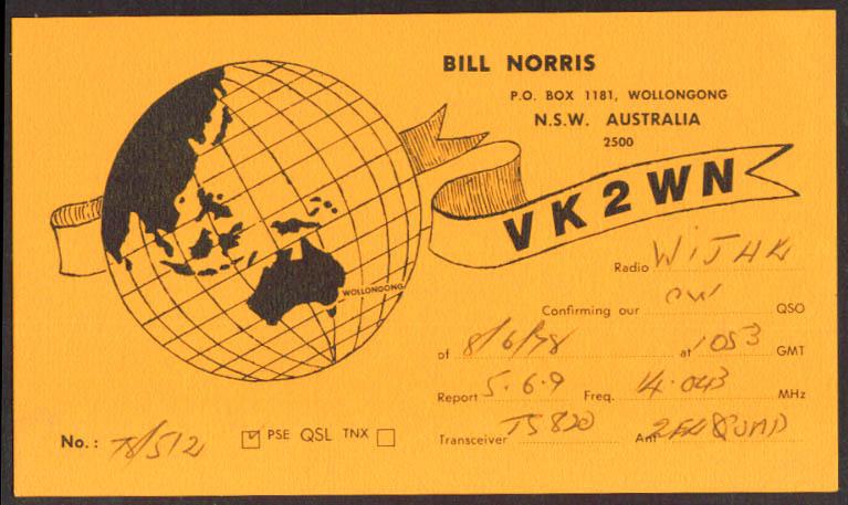 VK2WN Wollongong Australia Ham Radio QSL postcard 1978