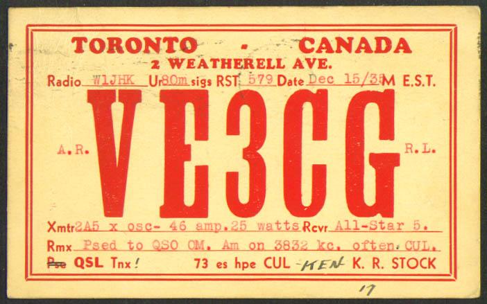 VE3CG K R Stock Toronto ON Ham Radio QSL postcard 1935