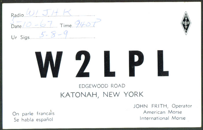 John Frith Katonah NY Ham Radio QSL postcard 1967