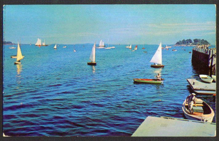 Camden Yacht Club Dock Outer Harbor ME postcard 1950s