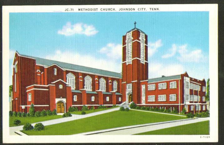 Methodist Church at Johnson City TN postcard 1940s