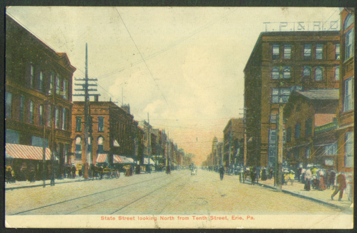 State Street N from 10th St Erie PA postcard 1907