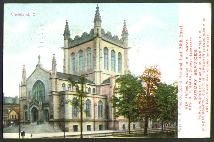 1st M E Church Cleveland OH postcard 1909 Rev Frank W Luce Pastor