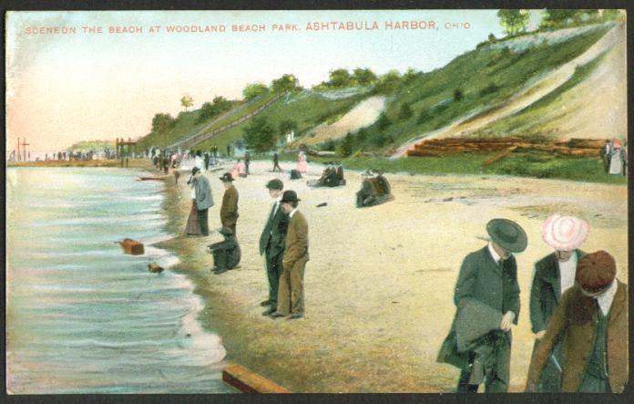 Woodland Beach Park Astabula Harbor OH postcard 1900s