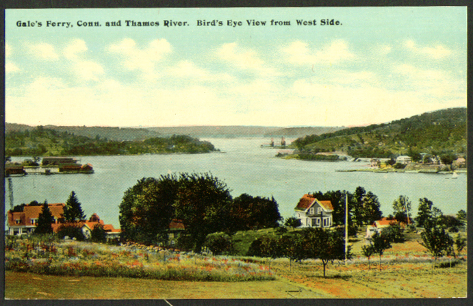 West View Gale's Ferry Thames River CT postcard 1910s
