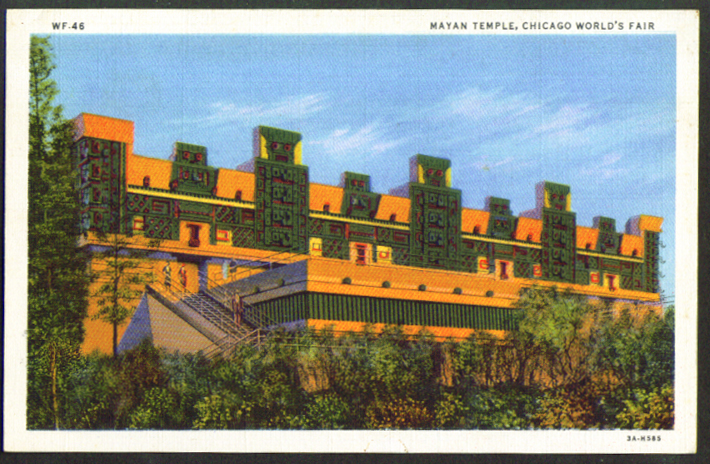 Mayan Temple Chicago World's Fair 1933 postcard