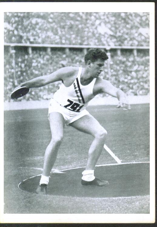 USA discus Ken Carpenter 1936 Berlin Olympics card