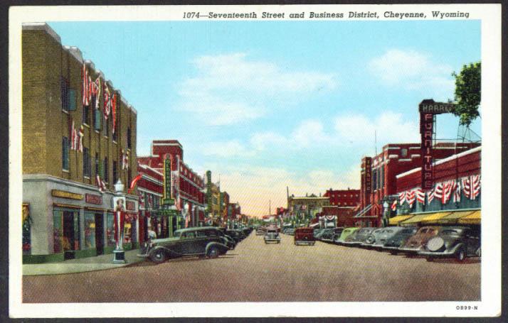 17th St & Business District Cheyenne WY postcard 1947