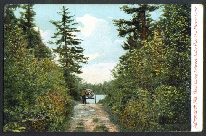 Boat Carry Mirror Lake Placid NY undivided back postcard 1900s