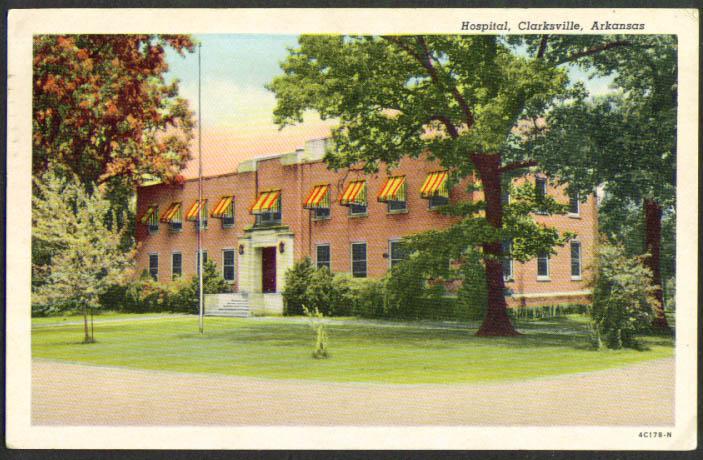 Hopsital at Clarksville AR postcard 1940s