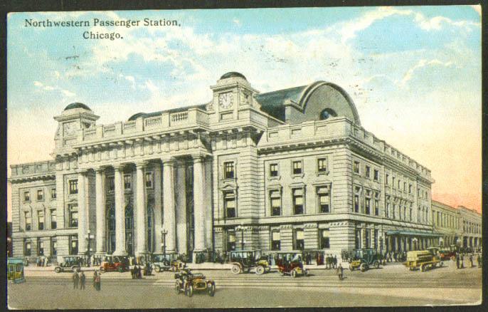 Chicago & Northwestern RR Station Chicago postcard 1916