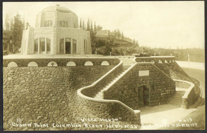 Vista House Crown Point Columbia River Highway OR RPPC 1910s