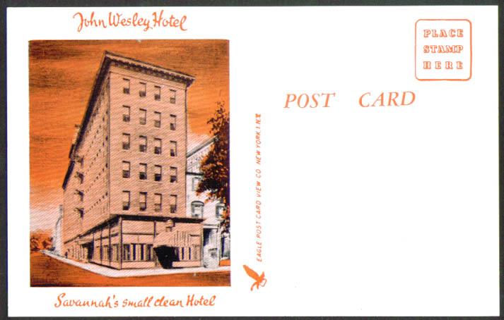 John Wesley Hotel Savannah GA postcard 1950s