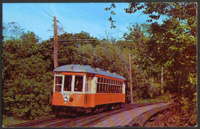 Branford Trolley Museum Car #356 CT postcard 1950s