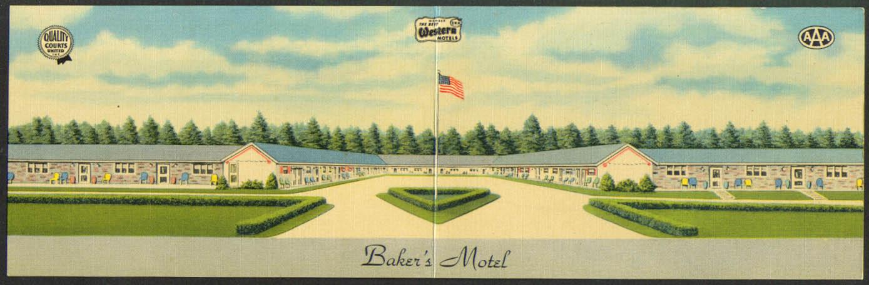 Baker's Motel Norwich OH double-wide postcard 1940s