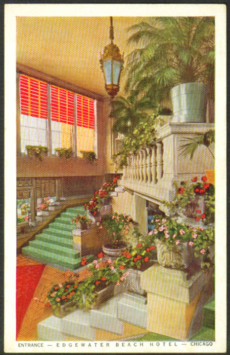 Entrance Edgewater Beach Hotel Chicago IL postcard 1940s