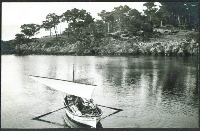 Fishing Boat  Puerto Pollensa Mallorca Spain RPPC postcard 1930s