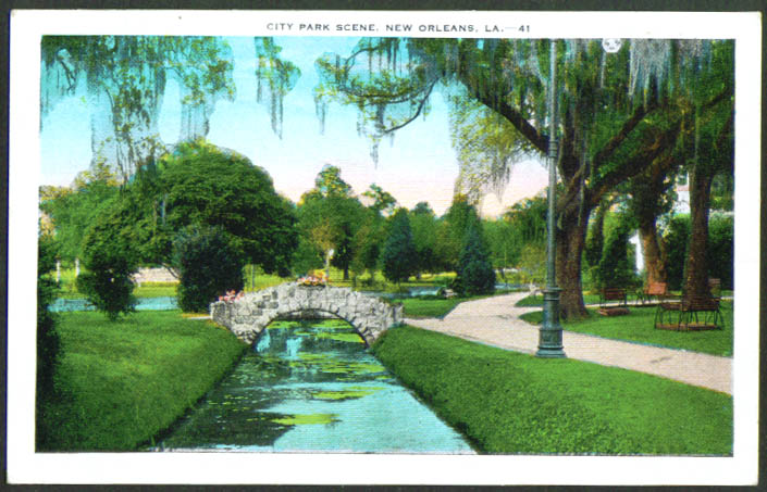 City Park Scene New Orleans LA postcard1930s