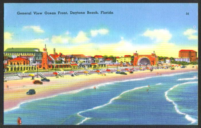 Ocean Front View Daytona Beach FL postcard 1958