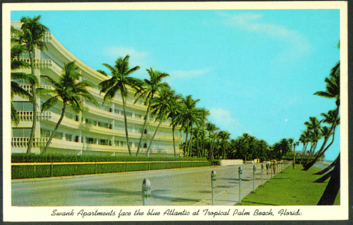 Swank Apartments Palm Beach FL postcard 1950s