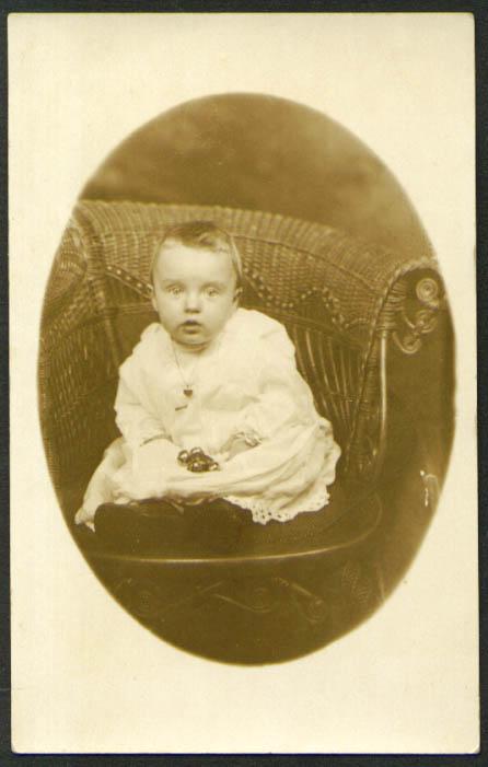 Baby in wicker chair RPPC postcard Hartford CT Stoddard? 1910s