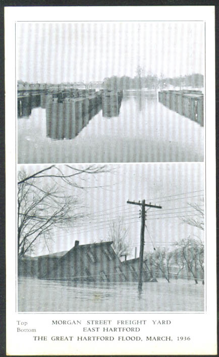 Morgan St Freight Yard postcard Hartford Flood CT 1936