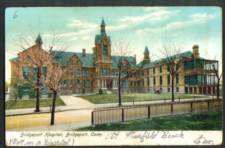 Bridgeport Hospital Bridgeport CT postcard 1907