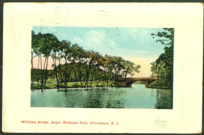 Roger Williams Brodge Park Providence RI postcard1909