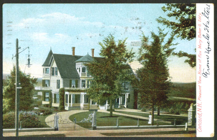 Mary Baker Eddy Pleasant View Concord NH undivided back postcard 1907