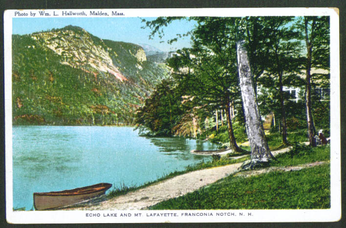 Echo Lake Mt Lafayette Franconia Notch NH postcard 1910s