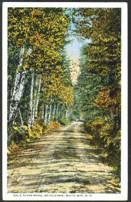 Gale River Road Bethlehem NH postcard 1918