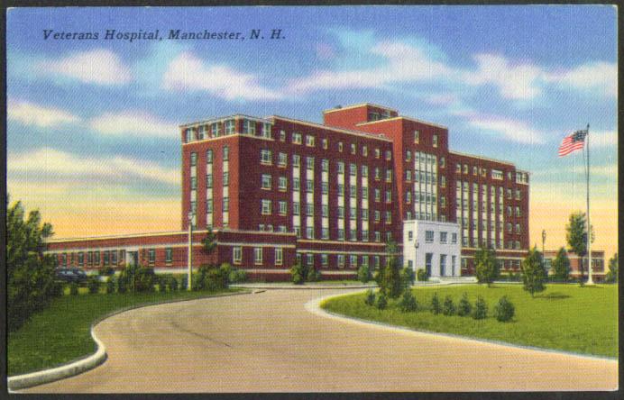 Veterans Hospital Manchester NH postcard 1957