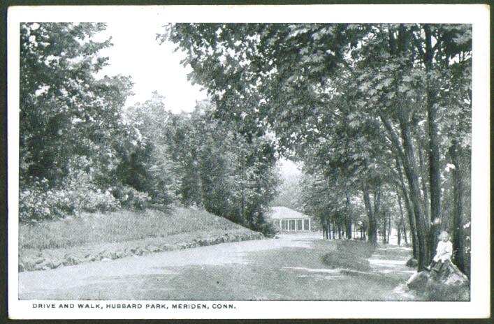 Drive & Walk Hubbard Park Meriden CT postcard 1910s