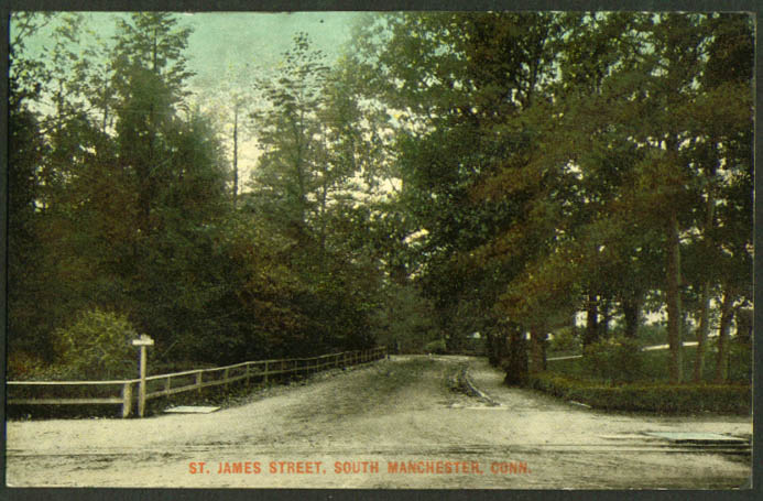 View up St James Street South Manchester CT postcard 1900s undivided back