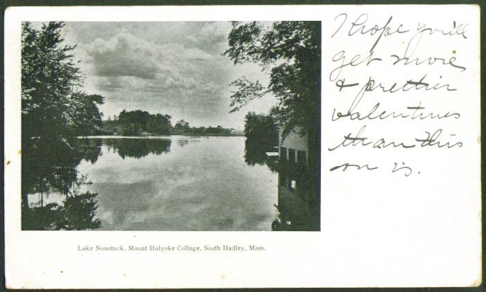 Lake Nonotuck Mt Holyoke Coll S Hadley MA undivided back postcard 1905