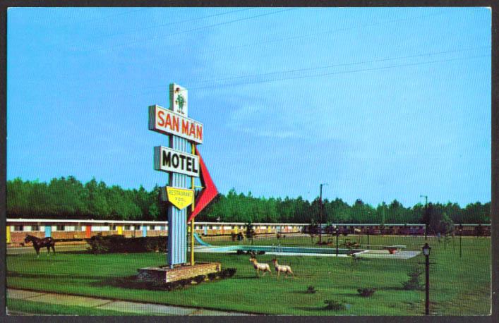 San Man Motel Restaurant Manning SC postcard 1950s