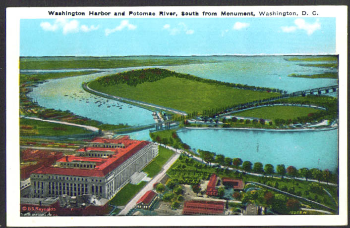 Washington Harbor & Potomac Washington DC postcard 1930s