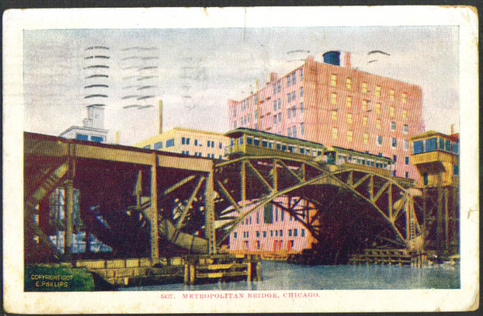 Metropolitan Bridge Elevated RR Chicago postcard 1907