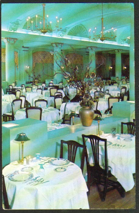 Hotel Dennis Dining Room Atlantic City NJ postcard 1956