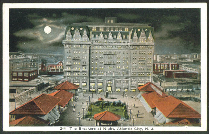 Breakers Hotel night Atlantic City NJ postcard 1910s