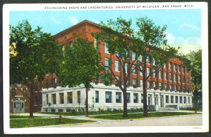 Engineering Lab University of Michigan Ann Arbor postcard 1920s