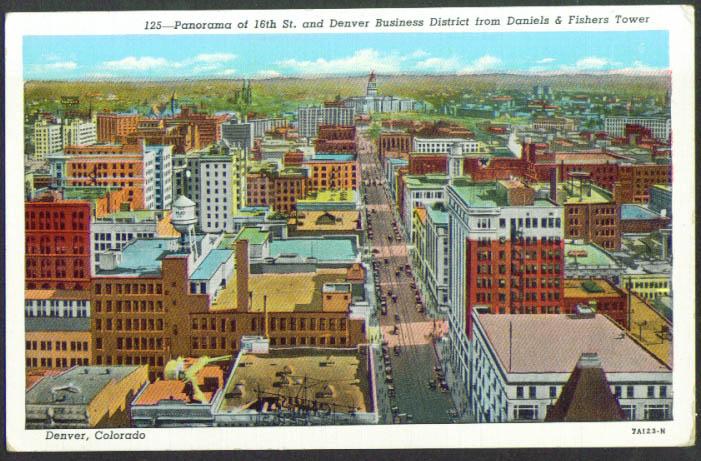 16th St Business District Denver CO postcard 1920s